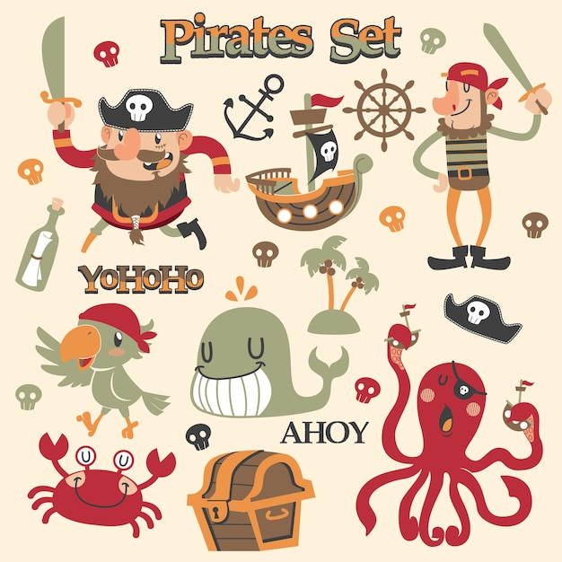 Cute pirates cartoon vector set Premium Vector
