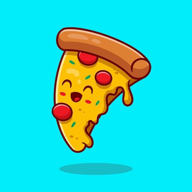 Симпатичная пицца мультфильм вектор значок иллюстрации. концепция значок быстрого питания. плоский мультяшном стиле Бесплатные векторы