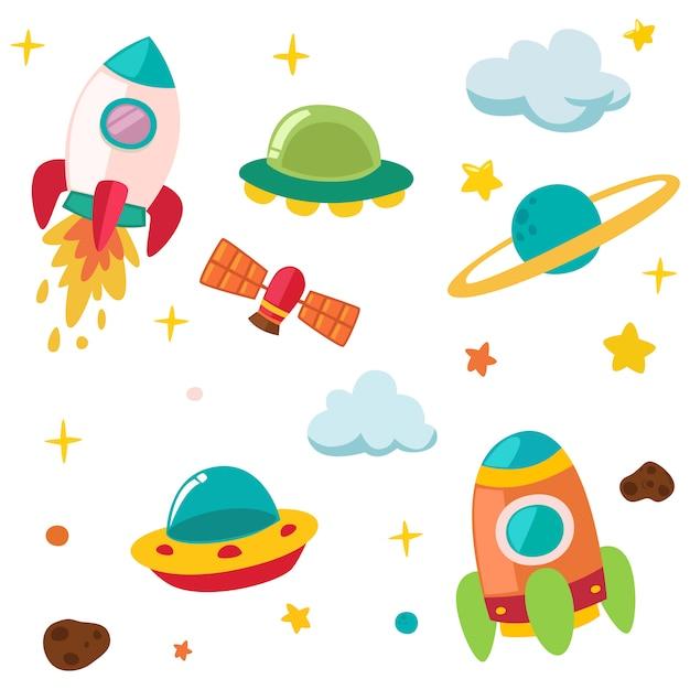 かわいい惑星&ロケットイラスト Premiumベクター