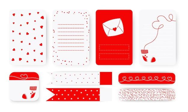 귀여운 플래너 배경 메모장 페이지 목록, 스티커 및 덕트 테이프 세트에 대한 템플릿. 추상적 인 마음으로 로맨틱 레터 헤드입니다. 발렌타인 데이를위한 스케줄러 선물 프리미엄 벡터