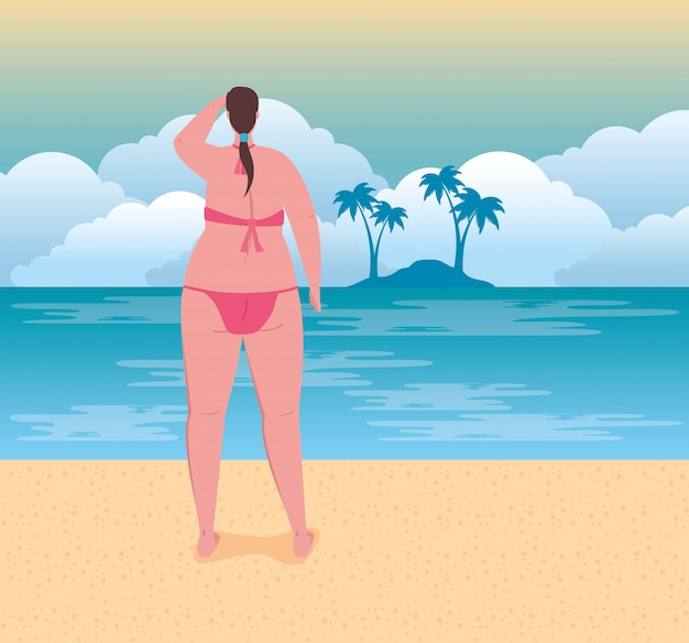Cute plump woman in swimsuit pink color on the beach, summer vacation season Premium Vector