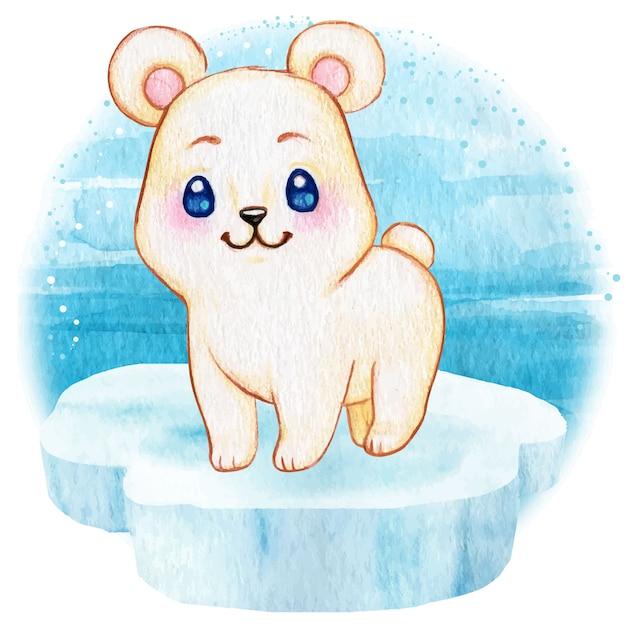 Cute polar baby bear on an iceberg floating on the sea Premium Vector