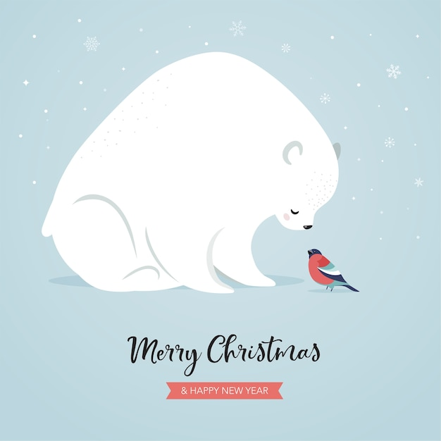 Cute polar bear and bullfinch, winter and christmas scene. perfect for banner, greeting card, apparel and label design. Premium Vector