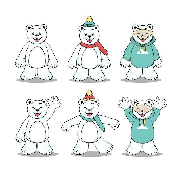 かわいいホッキョクグマの漫画のキャラクター Premiumベクター