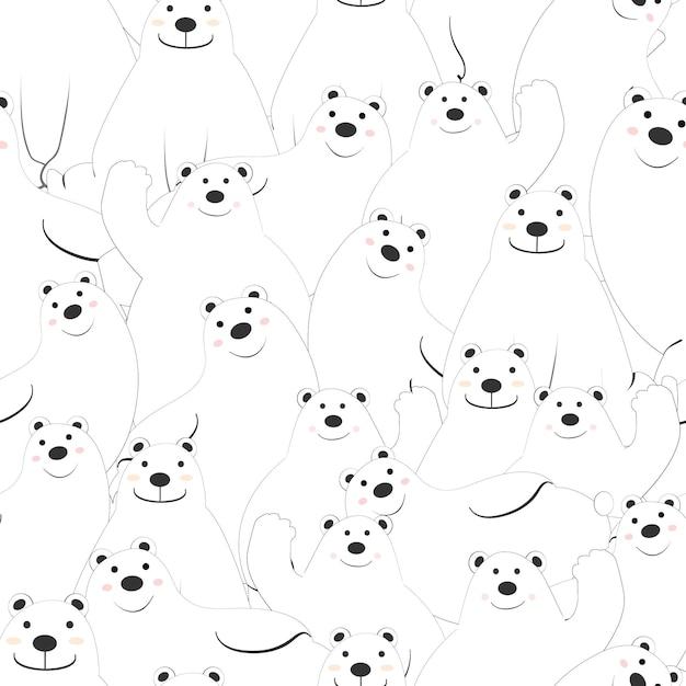 Cute polar bear cartoon seamless pattern. Premium Vector