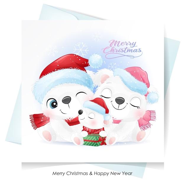 Симпатичная семья белых медведей на рождество с акварельной картой Premium векторы