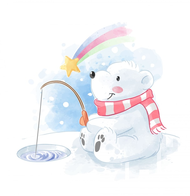 Cute polar bear fishing with meteor illustration Premium Vector