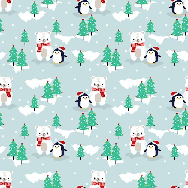 Cute polar bear and penguin in christmas season seamless pattern Premium Vector