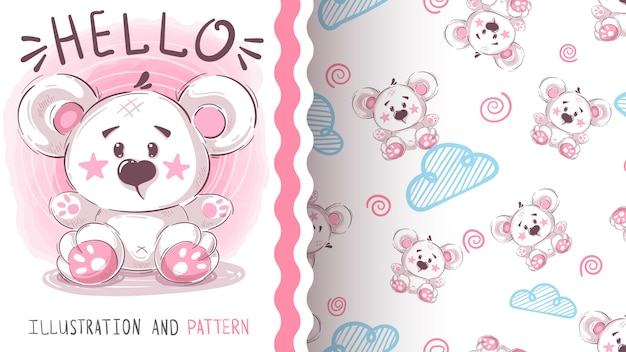 Cute polar bear - seamless pattern Premium Vector