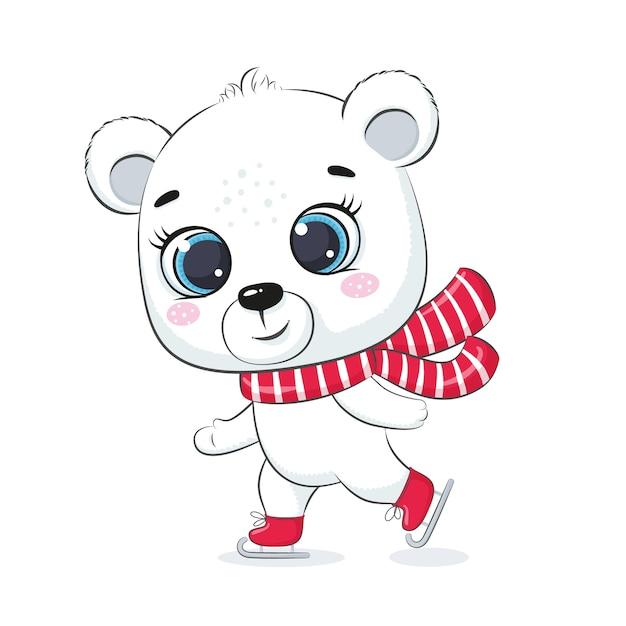 かわいいシロクマが氷の上でスケートします。メリークリスマスデザイン。 Premiumベクター