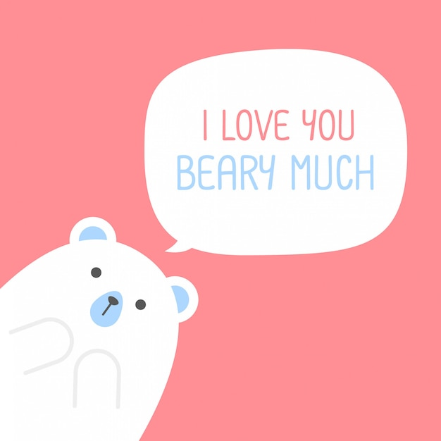 Cute polar bear with a heart is saying i love you beary much,valentine's day Premium Vector
