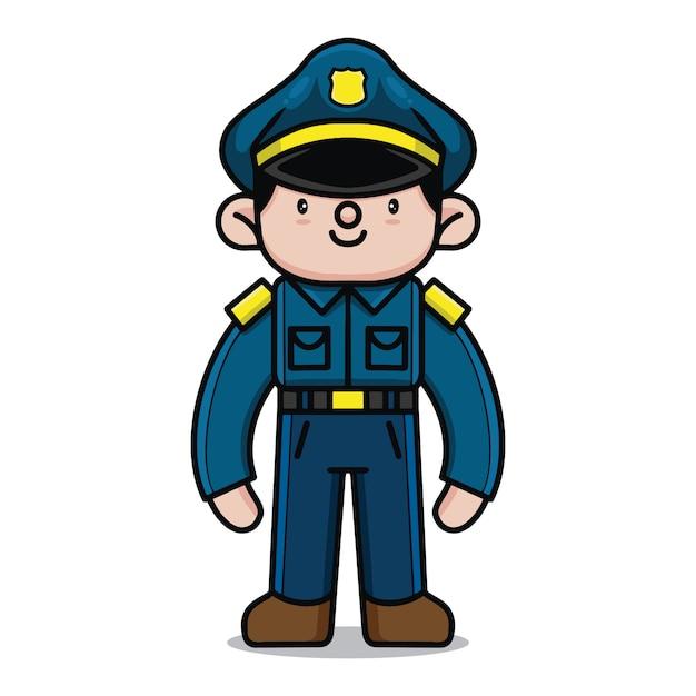 かわいい警察の漫画のキャラクター Premiumベクター