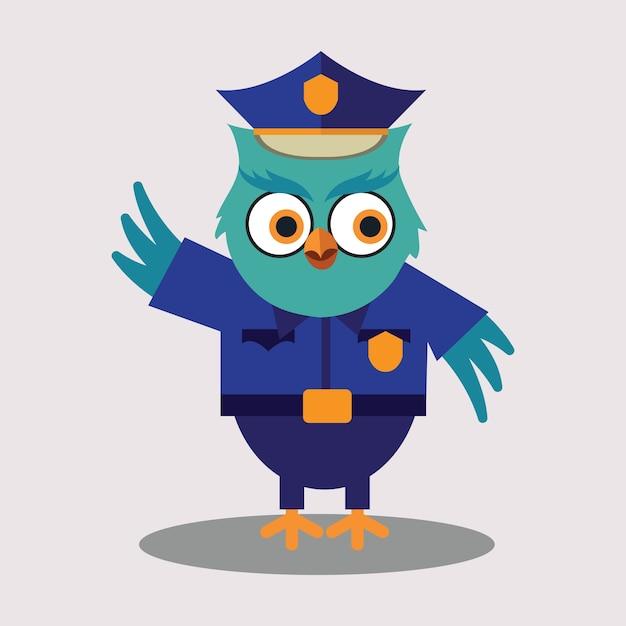 Cute police of owl cartoon character Free Vector