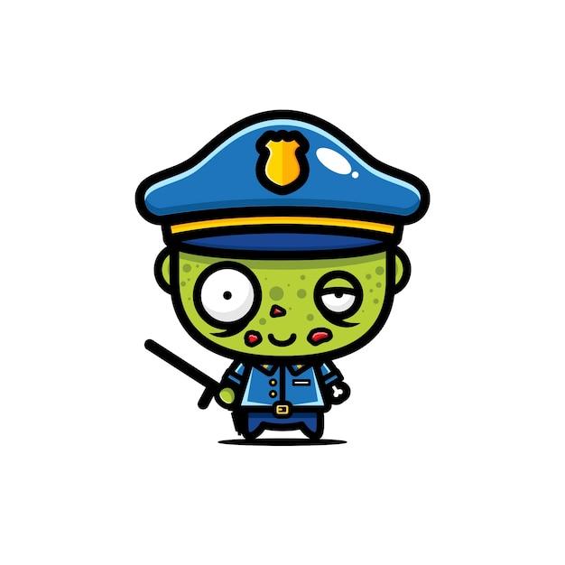 かわいい警察ゾンビベクトルデザイン Premiumベクター