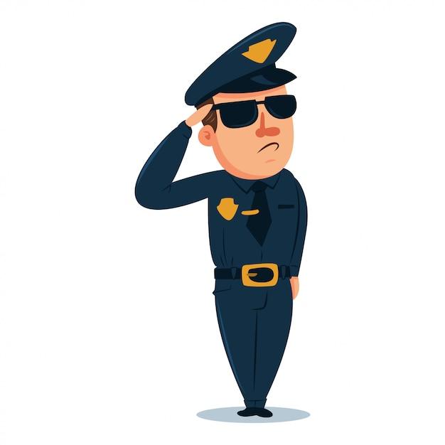 かわいい警官の漫画のキャラクター。伝統的な制服を着た警察官。分離されたベクトル人図 Premiumベクター