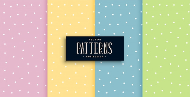 Cute polka dots small patterns set in pastel colors Free Vector