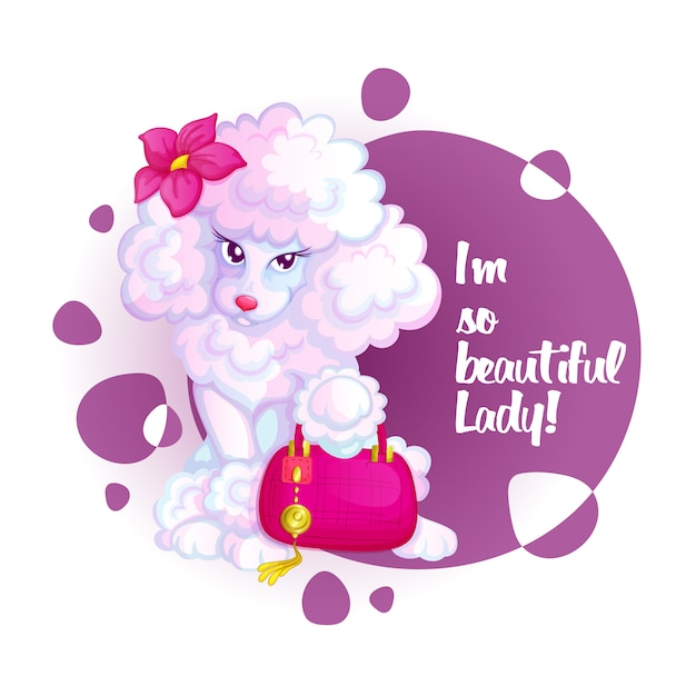 Cute poodle with a pink bag and a flower. Premium Vector