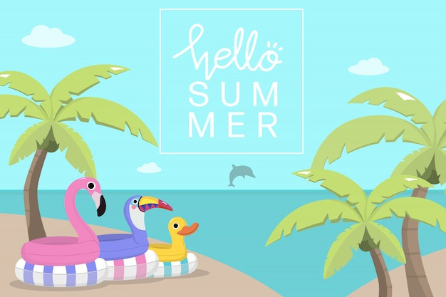 Cute pool toys and coconut trees Premium Vector