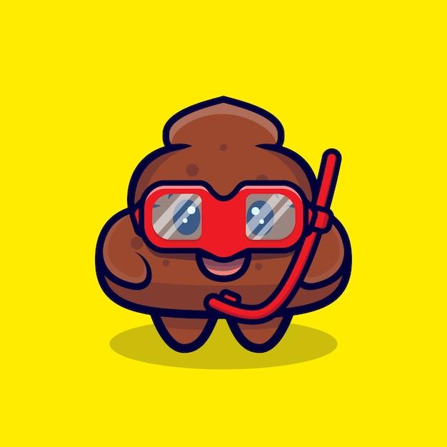 Premium Vector Cute Poop Ready To Swim Cartoon