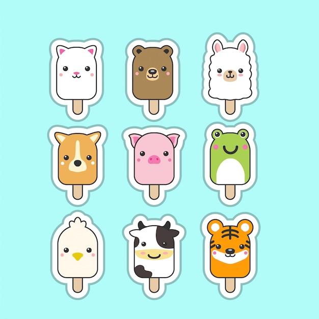 Cute popsicles Premium Vector