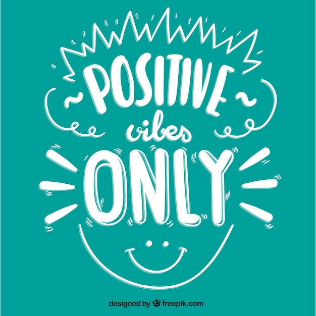 Cute positive quote with a smiley face Premium Vector