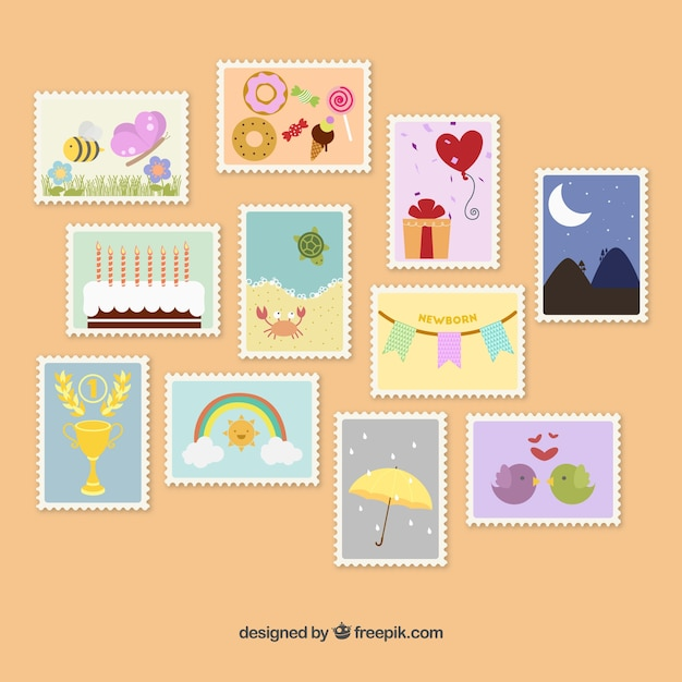 Cute postage stamps Vector | Free Download