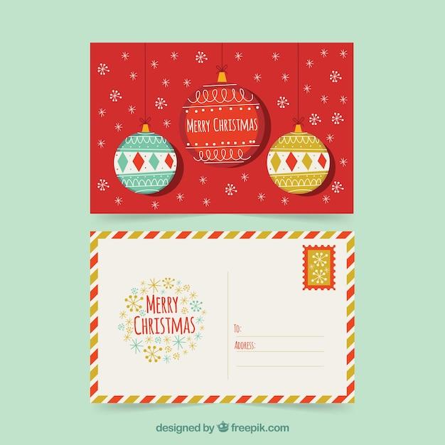 Cute postcard with vintage christmas balls