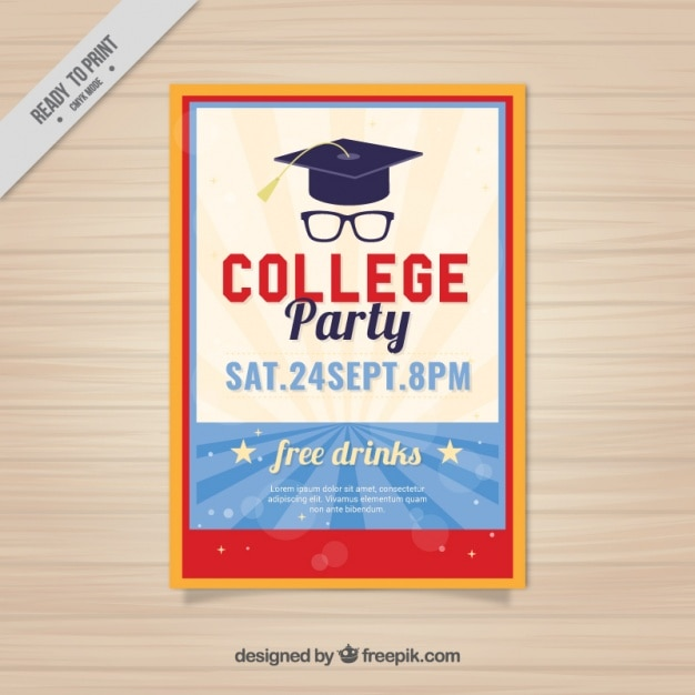 cute poster for college party vector free download