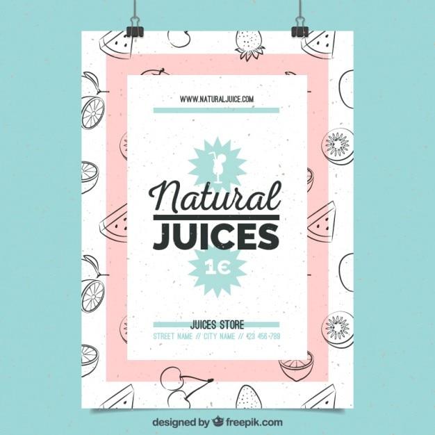 پوستر زیبا از آب میوه های طبیعی با میوه های دست کشیده