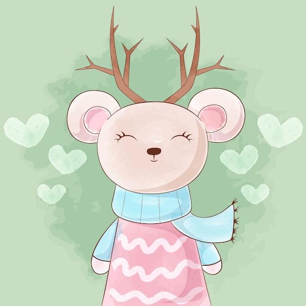 Cute princess bear, deer watercolor illustration. Premium Vector