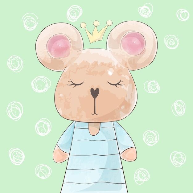 Cute princess bear, rabbit deer watercolor illustration. Premium Vector