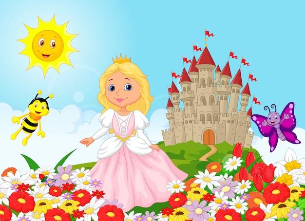 Cute princess in the floral garden Premium Vector