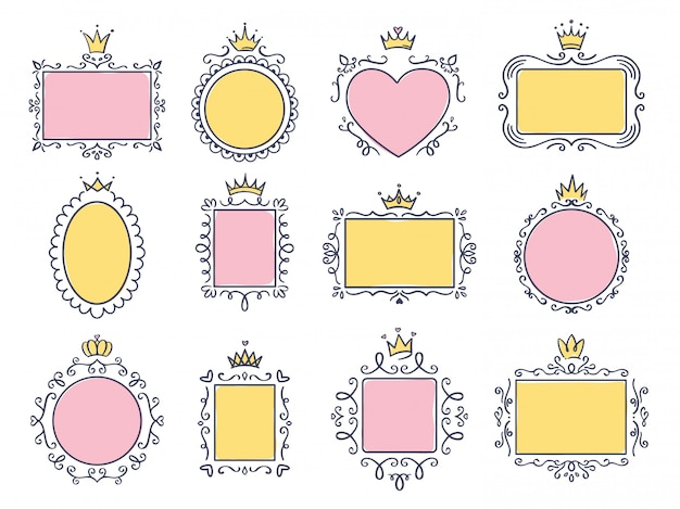 Cute princess frames. pink mirror frame with princesses crown, majestic hand drawn text borders and royal doodle frame  set. collection of empty boards with diadems. tiaras, flourish elements Premium Vector