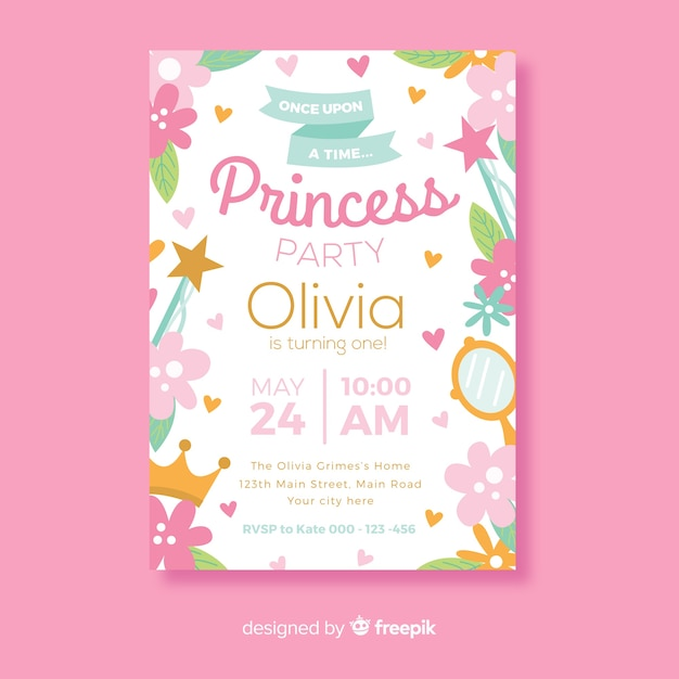 Cute princess party invitation Free Vector