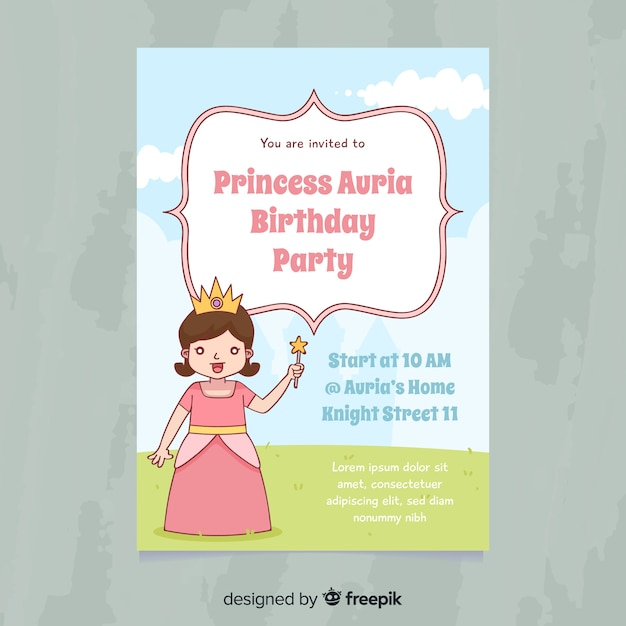 Cute princess party invitation Free Vector