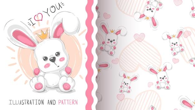 Cute princess rabbit pattern Premium Vector