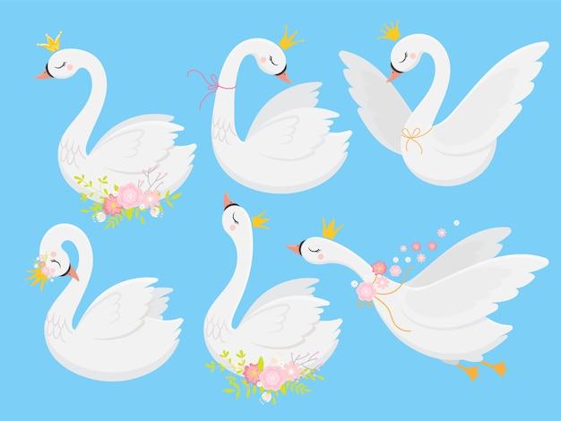 Cute princess swan Premium Vector