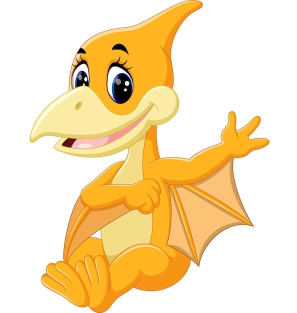 cute pterodactyl cartoon vector premium download