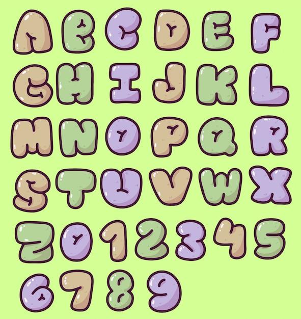 かわいいふくらんでいるアルファベットと数字のタイポグラフィデザイン Premiumベクター