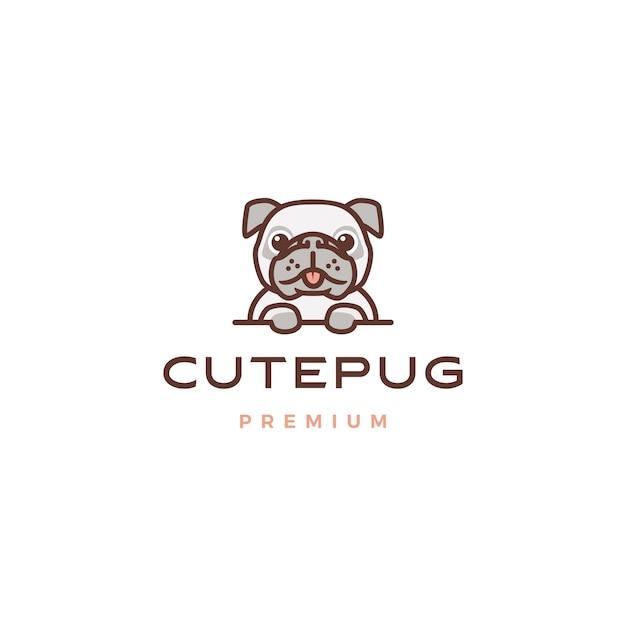 Cute pug dog cartoon character mascot logo icon illustration Premium Vector