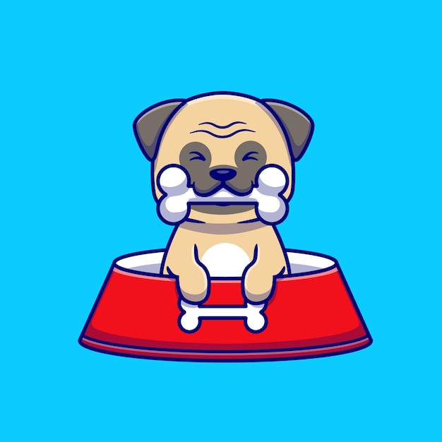 Carino pug eat bone cartoon icon illustration. Vettore gratuito