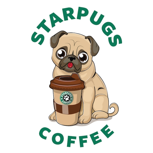 Cute pug with coffee cup Premium Vector