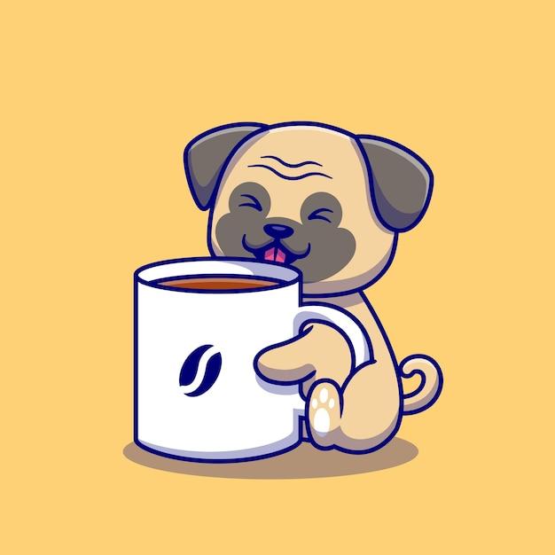 Милый мопс с чашкой кофе иллюстрации шаржа. изолированная концепция напитка животных. плоский мультфильм Бесплатные векторы