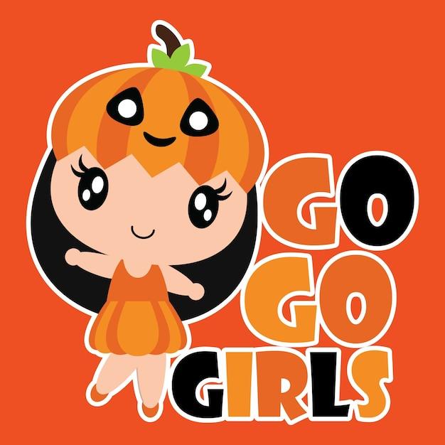 Cute Pumpkin Girl Smiles Vector Cartoon Illustration For Halloween Card Design Wallpaper And Kid T