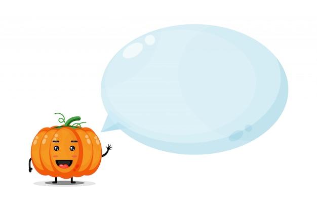 Симпатичный тыквенный талисман с пузырьковой речью Premium векторы