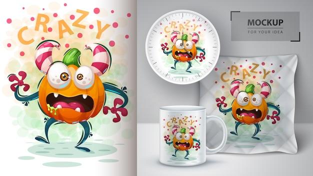 Cute pumpkin monster poster and merchandising Premium Vector