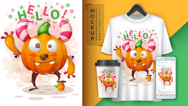 Cute pumpkin monster poster and merchandising Premium Vector