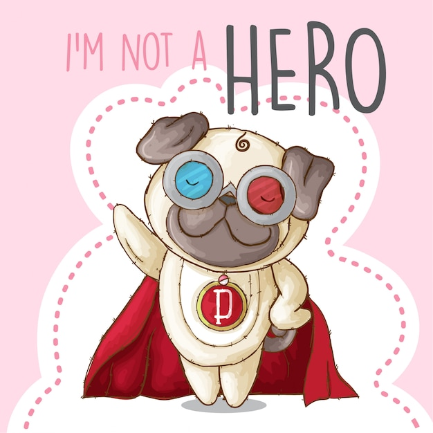 Cute puppy animal little hero-vector Premium Vector