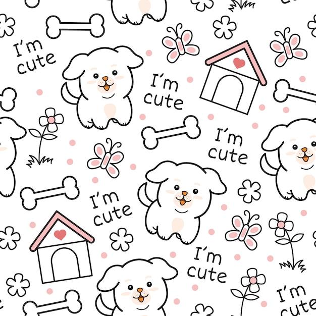 Cute puppy dog seamless pattern Premium Vector