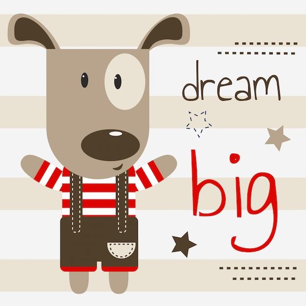 Cute puppy illustration with dream big text Premium Vector